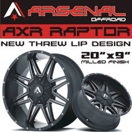 AXR RAPTOR 20x9 Black Satin/Milled 6x139.7/6x135 -12 ET 78 C.B. G.M. Chevy 1500 Ford F-150