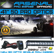 "No.1 41"" 5D Projector Pro Optic Single Row Arsenal Light Bar with 5W Cree LED's Super Combo LED Light Bar 200W 16,000 Lumen Off Road Polaris RZR UTV Raptor Jeep Bumper Rock FREE LED LIGHT BAR SWITCH KIT"