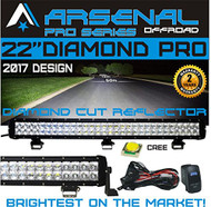"No.1 22"" DIAMOND PRO SERIES LED Light Bar Flood/Spot Combo Beam CREE 40 3W LED's 120w 10,400 Lumen Off Road Polaris RZR UTV Trucks Raptor Jeep Bumper Rock FREE LED Light Rocker Switch Kit wire Harness"