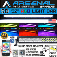 No.1 5D 52 inch Pro Series RGB CREE LED Light Bar 16 Million Colors Strobe Flashing Bluetooth Offroad Truck RZR SUV SxS