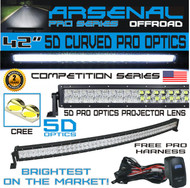 #1 5D 42 inch Curved Pro Optics 240W 5D=400W 40,000LM CREE LED Light Bar by Arsenal Offroad TM 5D Spot Flood combo beam for Xtreme Offroad JEEP Trucks UTV SUV 4x4 Polaris Razor 1000 Raptor