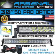 "No.1 5D 30"" Pro Optics Arsenal Offroad LED Light Bar New 2018 Design Flood/Spot Combo Beam CREE 3w LED's 168w 5D=300w 29,000LM 4x4 Polaris RZR UTV Raptor Jeep FREE LED Light Rocker Switch Kit Harness"