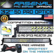 "No.1 5D 32"" Pro Optics Arsenal Offroad LED Light Bar New 2018 Design Flood/Spot Combo Beam CREE 3w LED's 180w 5D=310w 30,000LM 4x4 Polaris RZR UTV Raptor Jeep FREE LED Light Rocker Switch Kit Harness"