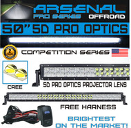 No.1 5D 50 inch Pro Optics Straight 288W 5D=480W 48,000LM CREE LED Light Bar by Arsenal Offroad TM for Extreme Offroad 5D Spot Flood Combo beam Trucks 4x4 Jeep SUV FREE LED LIGHT BAR ROCKER SWITCH KIT