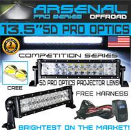 "No.1 5D 13.5"" Straight Pro Optics Arsenal LED Light Bar New 2018 Design Flood/Spot Combo Beam CREE 3w LED's 72w 5D=126w 20,000LM 4x4 Polaris RZR UTV Jeep FREE LED Light Rocker Switch Kit Harness"