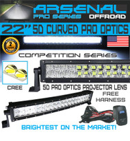 "No.1 5D 22"" Curved Pro Optics Arsenal Offroad LED Light Bar New 2018 Design Flood/Spot Combo Beam CREE 3w LED's 120w 5D=280w 28,000LM 4x4 Polaris RZR UTV Jeep FREE LED Light Rocker Switch Kit Harness"