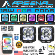 18W RGB Pro Series 3x3 PODs SPOT Light 2000 Lumens Color Changing App Cotrolled PODS Fogs 4x4 Truck 4wd Suv Tractor Jeep RZR UTV Yamaha