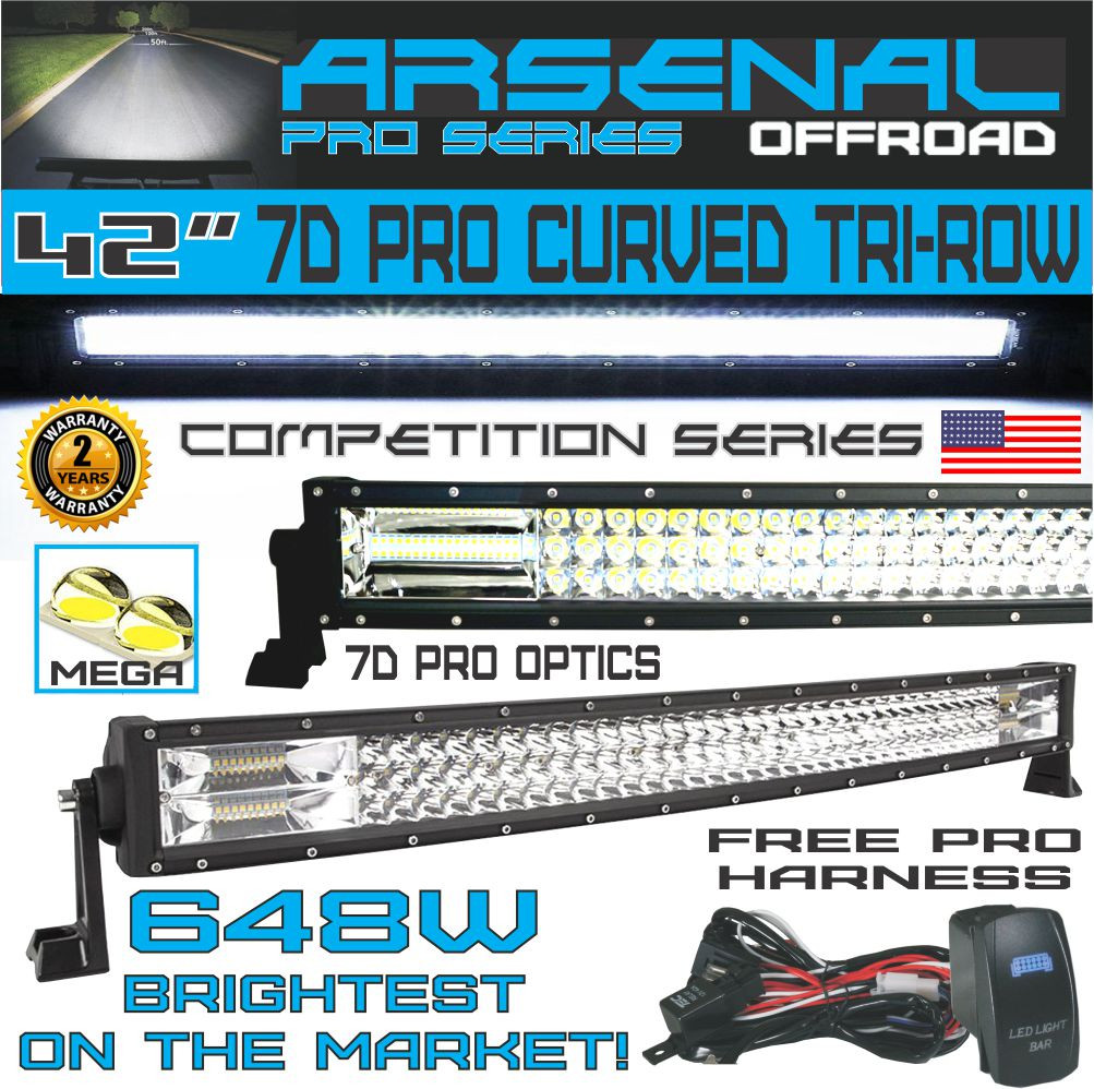 No1 42 Curved Pro Tri Row Led Light Bar 648w 64800lm 7d Spot On Off Switch Wiring Harness Relay One Line Control 2 Lights Flood Combo Beam For Road Jeep Atv Awd Suv 4wd 4x4 Rzr Canam