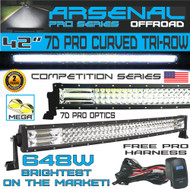 "No.1 42"" Curved Pro Tri-Row Led Light Bar 648w 64,800LM 7D Spot Flood Combo Beam for Off Road Jeep ATV AWD SUV 4WD 4x4 RZR CanAm"