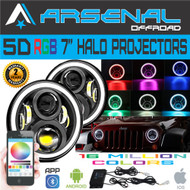 CNew 7 Inch Round Halo RGB Bluetooth 80W 9600 Lumens Hi/Lo Beam Cree LED Headlights DRL For Jeep Wrangler JK TJ LJ 1997-2017 Strobe Color Fading Music & MIC Timer Feature DIY Programing in the APP