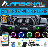 No.1 5D 4 Inch RGB 60W Cree Led Fog Lights W/ RGB Halo Ring DRL for Jeep Wrangler 97-15 JK TJ LJ Off Road Fog Lamps