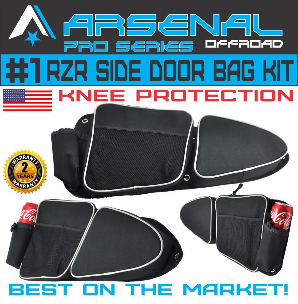 RZR Side Door Bags-Heavy duty Black 1680D Nylon Door bags for polaris RZR XP 1000 900XC S900 Passenger And Driver Side Storage Bag with Knee Protection