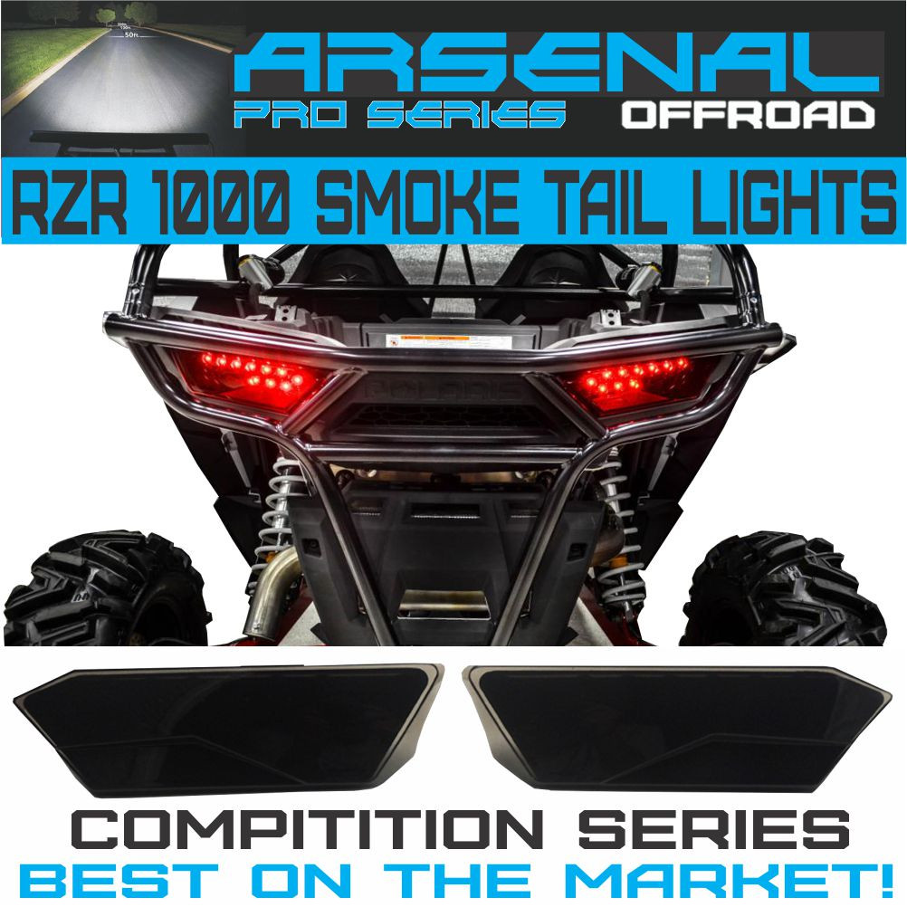 #1 Polaris RZR Smoked LED Tail Lights by Arsenal Rear Tail Lamp Replacement  for POLARIS 2014 - 2017 RZR 1000 900 XP 4 TURBO (1 Pair) Best on the