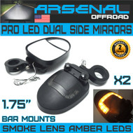 UTV LED Side View Mirrors Arsenal Pro Series Dual Mirrors Smoke Lens with Amber LED DRL or Turn signals, 1.75 Inch Billet Aluminum Clamps for Polaris RZR 900 XP 1000 Turbo Kawasaki Arctic Cat Wildcats