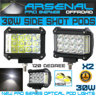 2 x 30W Side Shot Pod MEGA LED's Led Work Light Off Road Led Light Driving Light UTV RZR Truck Jeep Wrangler CAN AM X3