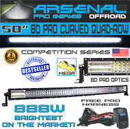 "Arsenal 50"" LED Light BAR, 50"" Curved Pro 8D Quad Row Led Light Bar 888W Light Output 60,000LM 8D Spot Flood Combo Beam"