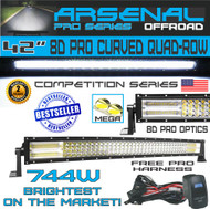 "LED bar 42"" Curved Pro QUAD-Row Led Light Bar 744w 60,000LM 8D Spot Flood Combo Beam"
