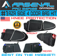 Arsenal Pro RZR 4 Door Bag Kit for Polaris 4 Door RZR XP 1000 Turbo XP4 900XC S900, Off road Side Storage Door Bags with Knee Pad Protection (4 PCS)