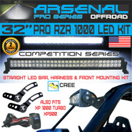 "Arsenal No.1 32"" Straight Polaris RZR XP900 XP1000 LED Light Bar KIT 180w Flood/Spot Combo Beam CREE 3w LED's 18,000 Lumen Fits: Polaris RZR XP900 XP1000 RZR4 XP4 2014-UP, Front mounts, Wire Harness"