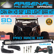 "Can Am X3 50"" 8D Curved Pro 4 QUAD Row LED Light Bar Kit 888W Light Output 60,000LM Front Mounts Wire Harness No Drilling Needed fits UTV Can-am Maverick DS RS MAX 2017 X3 2016 2017-2020 Turbo"