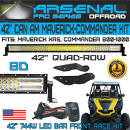 "Pro Can Am Maverick XRS Commander 800 1000 42"" 8D QUAD ROW Curved Front LED Light Bar Kit with Front Mounts and Wire Harness"