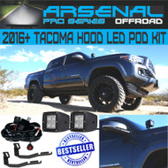Tacoma LED Pod Front Hood Kit Arsenal Pro 3D 20w PODS Black Satin Mounts Ultra Strong Round LED Switch with Pro Wire Harness Fits: 2016-UP Toyota Tacoma