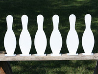 "15"" Bowling Pin K'Over Targets - 6 Pc. Set 1/4"" Thick Reg Steel - Free Shipping"