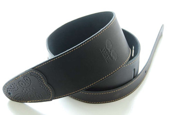 Whitestone & Willow Deluxe Series Black Leather Guitar Strap