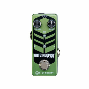 <p><span>Pigtronix Gatekeeper Micro is a lightning fast, studio quality noise gate pedal that locks out all unwanted noise from any rig. Sporting threshold and release time knobs, the Gatekeeper Micro provides 100% attenuation with unprecedented response time, making it the most useful and effective noise gate pedal on the market.</span><br /><br /><span>Gatekeeper Micro utilizes ultra-high speed J-FET circuitry to completely eliminate hum, hiss, buzz and any other non-musical sounds from your signal path. The wide range threshold control combines with superior headroom to deliver smooth transient response and warp speed time constants previously available only in rackmount, studio oriented noise gate processors. These extreme performance characteristics allow for musical gating even under the most punishing demands of high-speed metal. 
