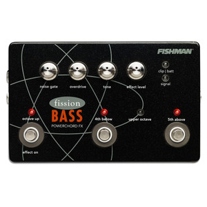 "<p>FISHMAN FISSION BASS PEDAL</p> <p>Fission Bass Powerchord FX Pedal lets any bassist lay down beds of power by adding stacked harmonies over their bass lines. Through an intuitive set of controls and footswitches, several combinations of octaves, 4th and 5th above the root note, combine to produce powerchords or octave-up effects.</p> <p>The four footswitch LEDs give you visible indication of the selected harmony. When the effect is off, the LEDs dim, making it easy to set up a harmony before you kick on the chord. It's also a multi-effect pedal with up to 3 voices of harmony, adjustable noise gate, overdrive, tone and effect level. This power-effect combo gives you creative control over anything from subtle octaves, to thick, grinding effects that even your guitar player will envy.</p> <p>Housed in a lightweight, yet sturdy metal enclosure, Fission Bass uses state-of-the-art 32-bit signal processing and 24-bit audio conversion. Its monophonic input accepts a wide range of pickups. The mix output is perfect for single amp operation and an effect-only output for feeding a dedicated guitar amp.</p> <p> </p> <table class=""productinfo""> <tbody> <tr> <td class=""infotitle"" colspan=""2"">FEATURES & INFO</td> </tr> <tr> <td class=""productinfoleft longtd""> <p class=""tabletitle"">MODEL NUMBER:</p> </td> <td> <p>PRO-FSN-BAS</p> </td> </tr> <tr> <td colspan=""2""> <p>Creates stacked harmonies above the root note: Octave up, octave and 5th up, 4th and octave up</p> </td> </tr> <tr> <td colspan=""2""> <p>Unique footswitch LEDs let you ""see"" the harmony before you kick it on</p> </td> </tr> <tr> <td colspan=""2""> <p>Noise Gate control</p> </td> </tr> <tr> <td colspan=""2""> <p>Overdrive control</p> </td> </tr> <tr> <td colspan=""2""> <p>Tone control</p> </td> </tr> <tr> <td colspan=""2""> <p>Effects level control</p> </td> </tr> <tr> <td colspan=""2""> <p>Single 1/4"" input with trim control accepts active or passive instruments.</p> </td> </tr> </tbody> </table> <p> </p> <table class=""productinfo""> <tbody> <tr> <td class=""infotitle"" colspan=""2"">SPECS</td> </tr> <tr> <td class=""productinfoleft""> <p class=""tabletitle"">DIMENSIONS:</p> </td> <td> <p>4.7"" L x 7.4"" W x 2.1"" H<br />(119 mm) (188 mm) (53 mm)</p> </td> </tr> <tr> <td class=""productinfoleft""> <p class=""tabletitle"">BATTERY:</p> </td> <td> <p>9-volt battery or compatible with Fishman 910-R power adapter</p> </td> </tr> <tr> <td class=""productinfoleft""> <p class=""tabletitle"">BATTERY LIFE:</p> </td> <td> <p>27 hours</p> </td> </tr> <tr> <td class=""productinfoleft""> <p class=""tabletitle"">MIX OUTPUT:</p> </td> <td> <p>1/4""</p> </td> </tr> <tr> <td class=""productinfoleft""> <p class=""tabletitle"">EFFECT OUTPUT:</p> </td> <td> <p>1/4""</p> </td> </tr> <tr> <td class=""productinfoleft""> <p class=""tabletitle"">PROCESSOR:</p> </td> <td> <p>32-bit processing<br />24-bit A/D/A</p> </td> </tr> <tr> <td class=""productinfoleft""> <p class=""tabletitle"">MATERIAL:</p> </td> <td> <p>Durable all-metal construction</p> </td> </tr> </tbody> </table>"