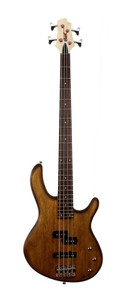 The CORT Action PJ 4-String Bass Guitar, here in Open Pore Walnut, is a bass for those who want a dependable, versatile instrument on a budget. Crafted with great care and detail, this bass guitar features an ergonomic, coutoured body with a full scale Canadian Hard Maple neck, a Rosewood fingerboard and a set of versatile PJ pickups.  Affordable but loaded with quality materials, components and craftsmanship, the Action Series basses define value for the aspiring bass player with versatile features and killer looks.  Firstly the Poplar body on this bass guitar has an open pore finish which allows the player to see the grain of the wood itself while also improving natural acoustic resonance. Being made from this well seasoned wood also gives the Action PJ a lightweight stance which makes it more suited to long periods of playing and all types of players.   This Cort bass keeps it simple yet versatile in the pickup department. All electronics are passive just like the vintage basses of the past, the difference with this model is that it houses not just a P bass style pickup which are great for styles such as hard rock, classic rock and Motown, but it also has a J bass style pickup which has made a name for itself in genres such as Jazz and Pop. This gives any bassist access to both these tonal spectrums on demand with the turn of a knob.