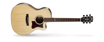 The new Grand Regal Series from Cort is based on the popular Grand Auditorium body shape that sits right in between the dreadnought and concert-size shapes for a full but balanced sound. The 45mm nut width also makes it ideal for fingerstyle playing. Offered in various models with solid Sitka spruce top with mahogany back and sides, solid European spruce top with Madagascar rosewood back and sides and solid red cedar top with blackwood back and sides, the Grand Regal Series offers variety of choices to suit virtually any musical style and taste.