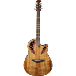 """The Celebrity Elite Plus CE44P-FKOA guitar has the classic mid-depth Lyrachord cutaway body with a gorgeous figured koa top featuring the Elite multi-soundhole design, which provides clear highs and focused, balanced bass response. For the tops quartersawn scalloped X bracing, we reviewed earlier Ovation bracing patterns extensively and arrived at a remarkable new design that borrows from the past and is voiced for the present, with natural tone and optimal response and power.  Together, body, top and soundholes create the classic Ovation Elite sound, resonating with full projection, remarkable note clarity and balance, and nuanced tonal complexity.The top also has elegant multi-wood epaulets, black binding, abalone purfling and a beautiful Natural gloss finish.  Other premium features include an effortlessly playable satin-finish neck with black binding, 10""""-radius rosewood fretboard with 20 fully accessible frets (24 frets for high E string) and abalone inlays, and a rosewood bridge. For great live sound, the CE44P-FKOA features an Ovation Slimline pickup and OP-4BT preamp system with three band EQ, volume/gain control, onboard tuner and low-battery light.  Specifications  General  Model Name: Celebrity Elite Plus, Mid-Depth Cutaway, Figured Koa Series: Celebrity Elite Color: Natural Body  Body Shape: Mid-Depth Cutaway Bracing: Quartersawn Scalloped X Rosette: Multi-Wood Body Binding: Black Body Back: Lyrachord Body Top: Figured Koa Neck  Neck Material: Nato Neck Finish: Satin Scale Length: 25.25"""" (642 mm) Fingerboard: Rosewood Fingerboard: Rosewood Fingerboard Radius: 10"""" (254 mm) Number of Frets: 20 Fully Accessible; 24 on High E String String Nut: ABS Nut Width: 1.69"""" (42.9 mm) Position Inlays: Abalone Electronics  Special Electronics: OP-4BT with Ovation Slimline Pickup Hardware  Bridge: Rosewood Hardware Finish: Gold-Plated Tuning Machines: Gold Die-Cast Miscellaneous  Strings: DAddario EXP11 Coated 80/20 Bronze Light Acoustic (.012-.053 Gauges) ShapeCelebrit"""