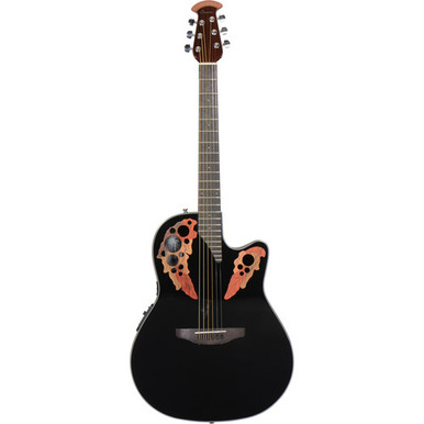 "The Celebrity Elite series is your first step into the world of Ovation's classic multi-soundhole instrument design, with first-rate sound, style, features and value.  The Celebrity Elite CE44-5 guitar has the classic mid-depth Lyrachord® cutaway body with a solid spruce top featuring the Elite multi soundhole design, which provides clear highs and focused, balanced bass response. For the top's quartersawn scalloped ""X"" bracing, we reviewed earlier Ovation bracing patterns extensively and arrived at a remarkable new design that borrows from the past and is voiced for the present, with natural tone and optimal response and power. Together, body, top and soundholes create the classic Ovation Elite sound, resonating with full projection, remarkable note clarity and balance, and nuanced tonal complexity. The top also has elegant multi-wood epaulets, black binding and a beautiful gloss black finish.  Other premium features include an effortlessly playable satin-finish neck, 10""-radius rosewood fretboard with 20 fully accessible frets (24 frets for high E string) and pearloid inlays, and a rosewood bridge. For great live sound, the CE44-4 features an Ovation Slimline pickup and OP-4BT preamp system with three-band EQ, volume/gain control, onboard tuner and low-battery light.  Please email sales@mormusic.co.uk or call 01904 646901 for more details."