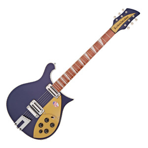 The Rickenbacker 660 Semi Acoustic Guitar features a charactered maple cutaway body along with a neck-through maple neck. Based on an innovative design from the 1950's, the 660 is equipped with a duo of Rickenbacker's own Vintage Single Coil Toaster Top? pickups which deliver a bright, clear and warm tone. As well as sound, a full host of aesthetic are appointments are featured, including the visually striking 'checkered' black and white binding, and the classic Midnight Blue finish. With its stunning looks and stunning appearance, the 660 is the perfect choice for players who want to add rich tones with sustain to their performances.