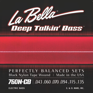 La Bella 760N-CB Deep Talkin' Bass Black Nylon Tape Wound, 6-String - 43-135