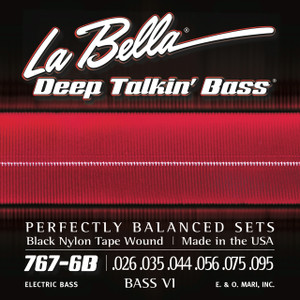 La Bella 767-6B Bass VI Black Nylon Tape Wound - 26-95