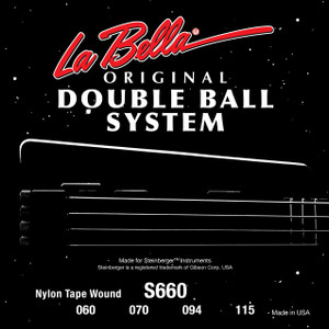 La Bella S660 Double Ball Bass Black Nylon Tape Wound - Light 60-115