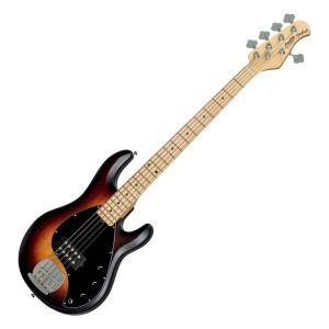 The S.U.B by Sterling StingRay5 5-String Bass, Vintage Sunburst Satin is a relative of the Music Man Stingray 5 and it is instantly recognisable with its curvaceous body and familiar retro pickguard. Crafted with a lightweight basswood body, the StingRay5 offers a comfortable playing experience and a defined tone with great dynamics. For an even more versatile performance, the high output Ceramic humbucker and 2-Band Active Preamp allow excellent tone shaping options, so that you can find your own sound. The satin finished maple neck enables fast playing and provides clarity and brightness to the StingRay5's sound; as well as a maple fingerboard that enhances the sound with tight, ringing sustain. Finished in classic Vintage Sunburst Satin and black oval pickguard, the Sterling StingRay5 provides the look and sound of the Music Man Stingray 5, without the top-end price.