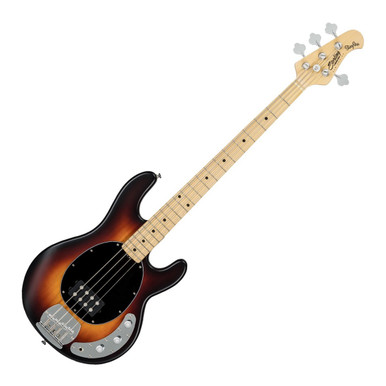The S.U.B by Sterling StingRay Bass, Vintage Sunburst Satin is a relative of the Music Man Stingray 4 and it is instantly recognisable with its curvaceous body and familiar retro pickguard. Crafted with a lightweight basswood body, the Sterling StingRay offers a comfortable playing experience and a defined tone with great dynamics. For an even more versatile performance, the high output Ceramic humbucker and 2-Band Active Preamp allow excellent tone shaping options, so that you can find your own sound. The satin finished maple neck enables fast playing and provides clarity and brightness to the StingRay's sound; as well as a maple fingerboard that enhances the sound with tight, ringing sustain. Finished in classic Vintage Sunburst Satin and black oval pickguard, the Sterling StingRay provides the look and sound of the Music Man Stingray 4 without the top-end price.