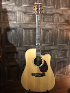 """Preowned in excellent condition with only a few small indentations on the top and on the very tip of the headstock. As with all used instruments the pictures provided form part of the description so please study them carefully.  This Freshman Songwriter Acoustic Guitar really does blow the phrase """"you get what you pay for"""" out of the water. With features and materials rarely seen on a guitar at this price along with superb craftsmanship, you really will be pleasantly surprised by the great tone and feel of this excellent guitar. Oh, and if the incredible spec wasn't enough - it comes with a lifetime warranty!  Be Creative. Whatever Your Stage.  Review  """"Displays a proud and timeless dreadnought tone right from the off... What makes this Freshman stand out from the crowd is the fact that solid construction makes this guitar one to savour over the years..."""" - Acoustic Magazine, 4 out of 5 'Excellent'  Tone and Sound  What does it sound like? The SONGDCE rewards passionate playing, with lively tones harmoniously jumping off its soundboard. Its sleek cutaway opens up your options, freeing you to explore. The dreadnought body shape has long been held in high regard for its strength of character, but in the SONGDCE you will find an intriguing personality that welcomes you to push beyond your comfort zone. The SONGDCE marries the best of tradition with a modern heart, asking questions of the songwriter. The answers will never disappoint.  The SONGDCE is fitted with a premium AER Tube System. These outstanding electronics are exclusive to Freshman Guitars, developed and specifically voiced in conjunction with the world-leading German acoustic electronics company. The marriage of the two has resulted in a system that produces a true replication of the acoustic tone, unlike any other, and at an unbelievable price.  Build and Finish  Using a higher grade of tonewood than you would ever expect to find in this price bracket, the all solid SONGDCE features a beautiful 'AA' Grade """