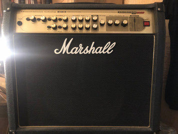 Preowned but in great condition. Just serviced and comes with footswitch and footswitch cable. Cooling fan is slightly noisy when first switched on as with all older Valvestates but soon quitens down and works perfectly and sounds great!  The Marshall AVT 100 Valvestate 2000 takes the reliability of solid-state amplification and adds a valve preamp section to infuse it with some of that organic valve sound that players love. At 100-watts this amp can handle home practice, studio use, and even some smaller gigs. This amp has 3 channels (2 drive, 1 clean), an FX loop, as well as 16 built-in digital effects giving you an array of sound options right at your fingertips.