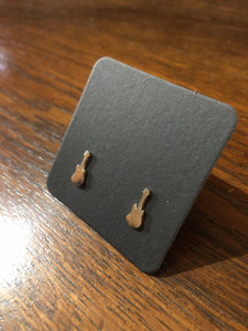 Guitar Earrings - Polished Silver Finish