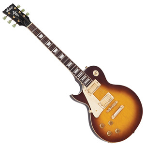 <p><span>Vintage LV100TSB Tobacco Sunburst Left Hand&nbsp;</span><br /><br /><span>In terms of looks and attitude, few guitars can match the out and out appeal of the Vintage V100. Offering an extraordinarily high level of specification, the build quality and constructional detail of the Vintage V100 includes a solid mahogany body and neck mated in true &lsquo;set neck&rsquo; fashion for maximum tone-enhancing rigidity. An accurately-carved gently arched body top additionally adds to the V100&rsquo;s distinctive look. The mahogany and maple tonewoods are the ideal recipe for the kind of sounds that this style of guitar is renowned for &ndash; smokey, sultry, sweet-toned bluesy licks with a warm jazzy feel from the neck pickup help soothe the soul with an emotional calm. Charging to the other extreme with a flick of the 3-way selector switch allows the back pickup to rage and rampage through high gain amplification like no other.</span><br /><br /><span>The Vintage V100 is a perfect example of Trev Wilkinson&rsquo;s fascination with tone. Whilst working in California, Trev&rsquo;s development work in the guitar industry led him to a meeting with the father of the humbucking pickup, Seth Lover. Recognising a kindred enquiring and inventive guitar spirit, Seth Lover imparted to Trev the exact specification of the mythical pickup units he designed, and that same authentic vintage voiced recipe is what Trev uses in the V100&rsquo;s humbuckers to ensure you can get that elusive iconic tone from the Vintage V100.</span><br /><br /><span>The V100&rsquo;s rock solid chassis allows for positive string anchoring and location with the precision-manufactured Tune-O-Matic bridge and stop bar tailpiece. On the elegantly-shaped headstock, a set of three-a-side Wilkinson WJ44 tuners offers both the precise tuning feel and accuracy you&rsquo;d expect from this type of guitar and &ndash; of course &ndash; the correct look, too.&nbsp;</span><br /><br /><span>Body: Mahogany Top:&nbsp;</