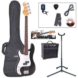 <p>The ideal entry to bass playing, with rock solid bass performance, precise tone and superb playing dynamics. Couple to an 'easy-to-get-on-with' feel and first-class instrument balance for a full-size, long scale instrument the E4 bass guitars are your direct access straight into the world of full-on bass playing.</p> <p><strong>Contents</strong></p> <ul> <li>Encore E4 Bass Guitar</li> <li>Kinsman 10 Watt Bass Amp</li> <li>Guitar Tech Tuner</li> <li>Kinsman Carry Bag</li> <li>Kinsman Guitar Stand</li> <li>Kinsman Guitar Lead</li> <li>Guitar Tech Guitar Strap</li> <li>Encore Tutorial DVD</li> <li>Plectrum</li> <li>Tutor Listing</li> </ul>