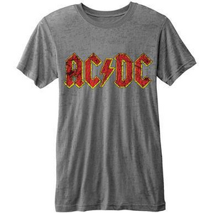 AC/DC MEN'S BURN OUT TEE: LOGO