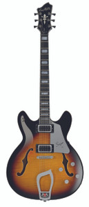 """The Hagstrom Viking has become one of Hagstrom's most popular models, due to its wonderful tone, sleek looks and playability.  With the introduction of the longer scale Super Viking, the osmosis of the Classic Viking and Super Swede has created this powerful instrument which can only be described as """"Super"""".  With its flame maple body, block inlays and amazing finishes, the Super Viking with its longer scale length of 25.5"""" allows greater ease with drop tunings whilst offering ample sustain. Players will immediately notice the increase of resonance throughout the entire instrument along with its brilliant attack.  Incorporating the electronics from the Hagstrom Super Swede, and with the introduction of the new open framed H-50'C pickups, the player is able to switch between humbucking to single coil mode on each pickup independently with the use of each of the Super Vikings push/pull tone pots."""