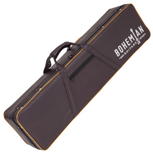 <p>BOHEMIAN HARD CASE - BLACK/BROWN - GUITAR</p> <p><span>Protect your Bohemian Guitar with our custom hard case made specifically for your Boho.&nbsp;</span><br /><span>&bull; Brown Leatherette Exterior</span><br /><span>&bull; Gold Piping</span><br /><span>&bull; Black plush interior</span><br /><span>&bull; Internal Accessory Compartment</span><br /><span>&bull; Heavy Duty Zip</span><br /><span>&bull; Flexible comfort carry handles</span><br /><span>&bull; Bohemian logo</span></p>