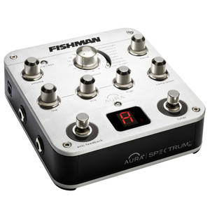 "<p>Used by musicians such as <strong>Slash</strong>, <strong>Eric Clapton</strong> and <strong>The Killers</strong> the Fishman Aura Spectrum DI greatly enhances your acoustic instruments amplified tone. Powered by a 9V battery (not included) or a power adaptor, the Fishman Aura Spectrum DI preamp uses digital algorithms to create images of the sound captured by stuido mics and blends it with the unsaddle or soundhole pickup on your acoustic guitar to create a realistic yet enhanced amplified sound when you play through an amp, mixer or PA.</p> <p class=""br""> </p> <p class=""br""> </p> <p class=""br""> </p> <p>Plug in to the preamp using a standard 1/4"" or XLR shielded instrument cable and tune up with the chromatic tuner. You can use a tuner footswitch to turn the output off when doing this if you need to tune on stage, mid-gig. Adjust the input trim, select an image with the user-friendly Image Bank slider then blend to taste. If feedback starts, simply  kill it using the phase switch.</p> <p>The included Aura Gallery Image software gives you access to an expanding list of images recorded using professional studio mics and recording techniques. The sounds, taken from a variety of instruments, are versatile and realistic acoustic sounds for use on stage or in the studio.</p> <p>The Aura Spectrum DI also features a 3 band EQ, one knob compressor, 3 notch auto feedback suppression, effects loop and balanced XLR DI output. All of this is housed in an elegant, durable metal case so it can handle gigging or regular studio use.</p> <p>To read more about the <strong>Fishman Aura Spectrum DI Preamp</strong> and the Image Bank please download the user guide below.</p> <p class=""br""> </p> <h2>Features/Specifications</h2> <ul> <li>Award-winning Aura Acoustic Imaging</li> <li>128 pre-loaded Images for use with the most popular acoustic instruments</li> <li>Instrument Preamp with Balanced XLR D.I. out</li> <li>Volume, Blend, and Image Select controls</li> <li>Three band EQ</li> <li>One-knob compressor</li> <li>Automatic anti-feedback with up to 3 notches</li> <li>Built-in chromatic tuner with bypass/mute</li> <li>16 user-configurable Image locations</li> <li>USB interface for Image downloading from Aura Image Gallery (software included)</li> <li>Feedback-fighting Phase switch</li> <li>Automatic D.I. Ground Lift</li> <li>9-Volt Battery or optional adaptor operation</li> <li>1/4"" mono input & output w/input trim control</li> <li>Balanced XLR D.I.</li> <li>1/4"" effects loop</li> <li>24-bit A/D/A conversion <p> </p> </li> <li><strong>Processor:</strong> 32-bit processing</li> <li><strong>Material:</strong> Durable all-metal construction</li> <li><strong>Dimensions:</strong> 5.6"" L x 5.25"" W x 2.1"" H</li> <li><strong>Weight:</strong> 1.7 lbs.</li> <li><strong>Power:</strong> 9-Volt battery or optional adapter power</li> <li><strong>Battery Life</strong> 20 hours</li> </ul>"