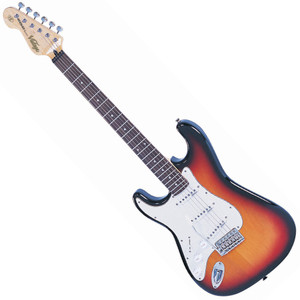 "<p>VINTAGE LEFT HAND GUITAR- SUNBURST</p> <p><span>The Vintage&reg; V6 Series features the new Wilkinson&reg; WVC original specification vibrato featuring authentic bent steel saddles for that classic sparkle and tone, precision machined pivot points for total ""return to pitch"" accuracy, and a stagger drilled sustain block to prevent string hang-up.</span><br /><br /><span>A vintage bend, push-in arm completes this definitive vibrato system.</span><br /><br /><span>Attention to authentic tone continues, with the use of a matched, calibrated set of Wilkinson&reg; Alnico single coil pickups; using a reverse wound, reverse polarity middle pickup for clarity and dynamics and featuring staggered edge, staggered pole pieces for focus and definition.</span><br /><br /><span>Featuring one volume and two tone controls, the five way lever switch and control circuitry are configured for maximum tone, evenness of response and output for supreme versatility.</span><br /><br /><span>Comfort contours and radiused edges give the body a familiarity whilst the vintage profile neck and 10"" radius 22 fret, overhung fingerboard give an instantly familiar and comfortable feel.</span><br /><br /><span>Wilkinson&reg; Vintage tuners featuring the patent pending E-Z-LOKG&auml;&oacute; string lock system, quick and easy to use, with no tools, provides for hugely enhanced tuning stability, with super quick string change times.</span><br /><br /><span>Staggered string posts, providing the correct break angles across the top nut, ensure accurate tuning, correct string tensions for enhanced feel and aid tuning stability.</span></p> <p class=""related-similar"">VINTAGE VINTAGE LV6 LEFT HANDED FEATURES:</p> <ul> <li>Body: Eastern Poplar</li> <li>Neck: Hard Maple Bolt On</li> <li>Scale: 25.5""/648mm</li> <li>Frets: 22</li> <li>Neck Inlays: Pearloid Dot</li> <li>Tuners: Wilkinson WJ55 E-Z-LOK</li> <li>Vibrato: Wilkinson WVC</li> <li>Pickups: Wilkinson Single Coil x 3 (N)WVS (M)WVS (B)WVS</li> <li>Hardware: Chrome</li> <li>Controls: 1 x Volume/ 2 x Tone/ 5-Way Lever</li> </ul>"